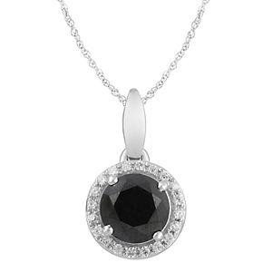 10k White Gold Black & White Diamond Round Halo Pendant Necklace