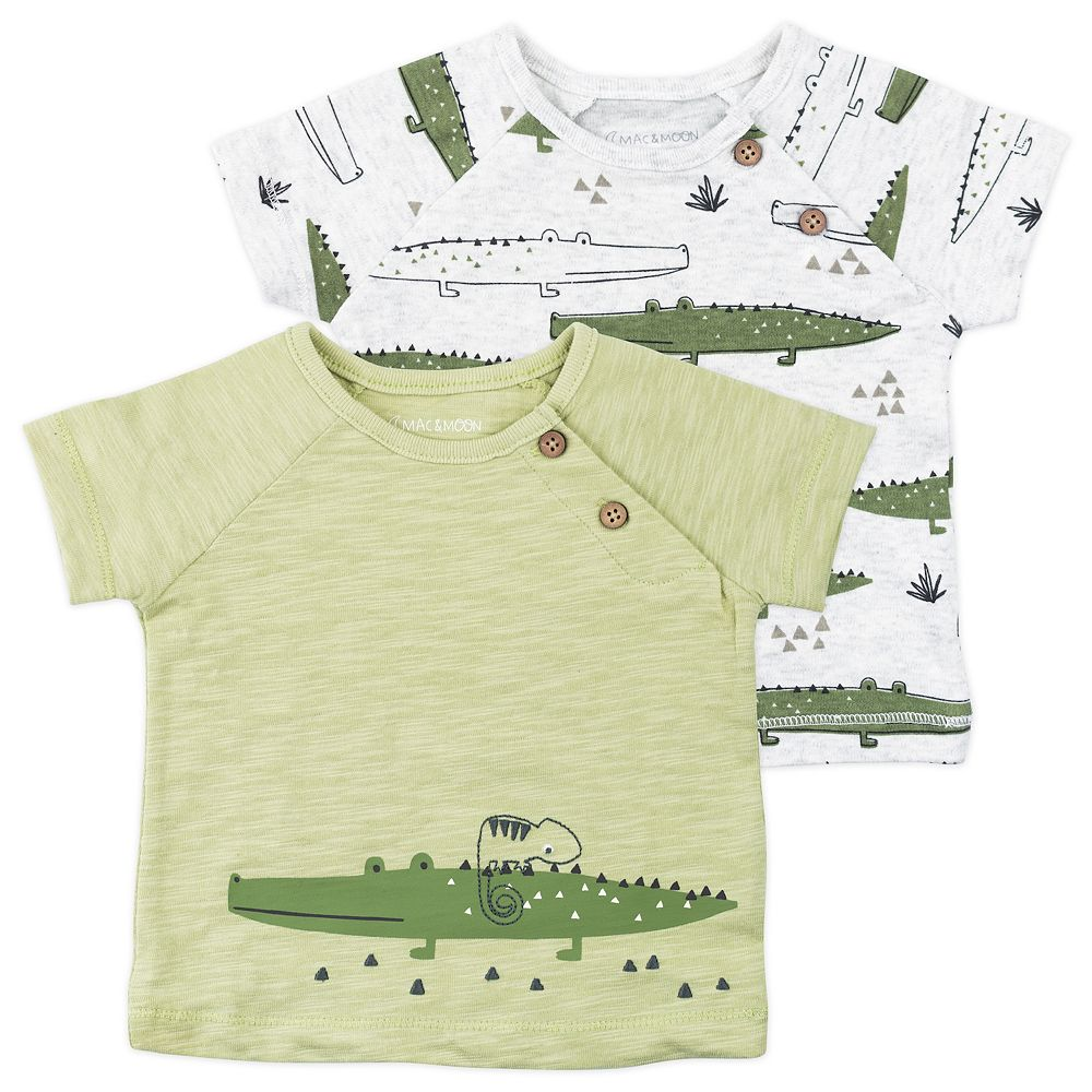 Baby Boy Mac & Moon 2-Pack Crocodile Print Raglan Tees