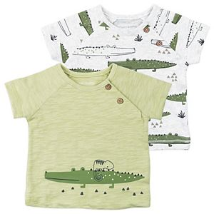 Baby Boy Mac & Moon 2-Pack Short Sleeve Raglan Tees in Crocodile Print