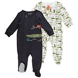 Baby Boy Mac & Moon 2-Pack Footed Sleep & Plays in Charcoal Gray and Chameleon Print