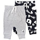 Baby Mac & Moon 2-Pack Pants in Multi-Animal Print & Heather Gray