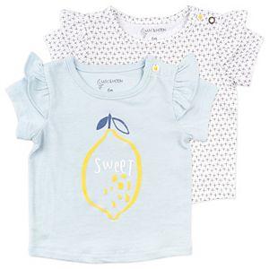 Baby Girl Mac & Moon 2-Pack Short Sleeve Ruffle Tees in Lemon and Geo Dot