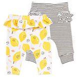 Baby Girl Mac & Moon 2-Pack Ruffle Leggings in Lemon Print and Stripes