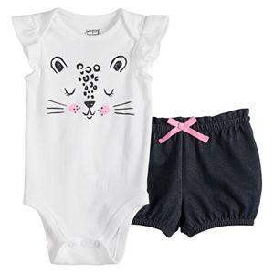 Baby Girl Jumping Beans® Flutter Bodysuit & PaperBag Shorts