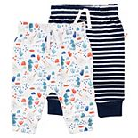 Baby Mac & Moon 2-Pack Pants in Narwhal Print & Navy Heather Stripe