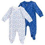 Baby Mac & Moon 2-Pack Footed Sleep & Plays in Blue Narwhal & Wave Print