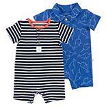 Baby Boy Mac & Moon 2-Pack Short Sleeve Rompers in Stripes & Narwhal Print