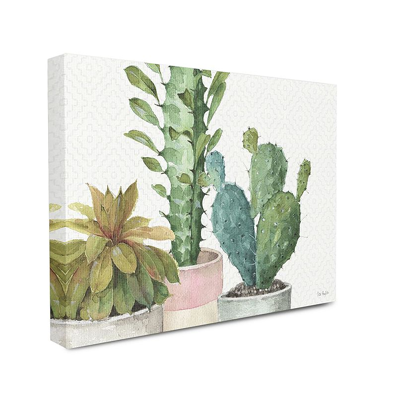 Stupell Home Decor Modern Succulents Pattern Stretched Canvas Wall Art, 16X20