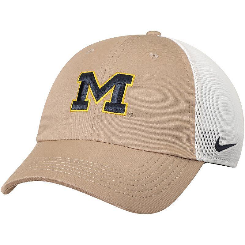 Men's Nike Khaki/White Michigan Wolverines Trucker Adjustable Performance Hat, Beig/Green