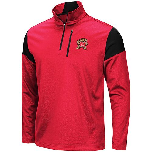 Men's Colosseum Red Maryland Terrapins Luge Quarter-Zip Pullover Jacket