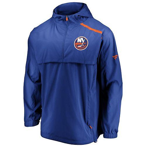 Men's Fanatics Branded Blue New York Islanders Authentic Pro Rinkside Anorak 1/4-Zip Jacket
