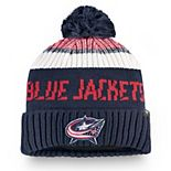 Men's Fanatics Branded Navy/Red Columbus Blue Jackets Authentic Pro Rinkside Goalie Cuffed Knit Hat with Pom