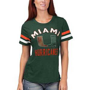 Women's G-III Sports by Carl Banks Green Miami Hurricanes Extra Point Sleeve Stripe T-Shirt