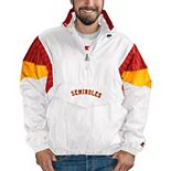 Men's Starter White/Garnet Florida State Seminoles Breakaway Hoodie Quarter-Zip Pullover Jacket