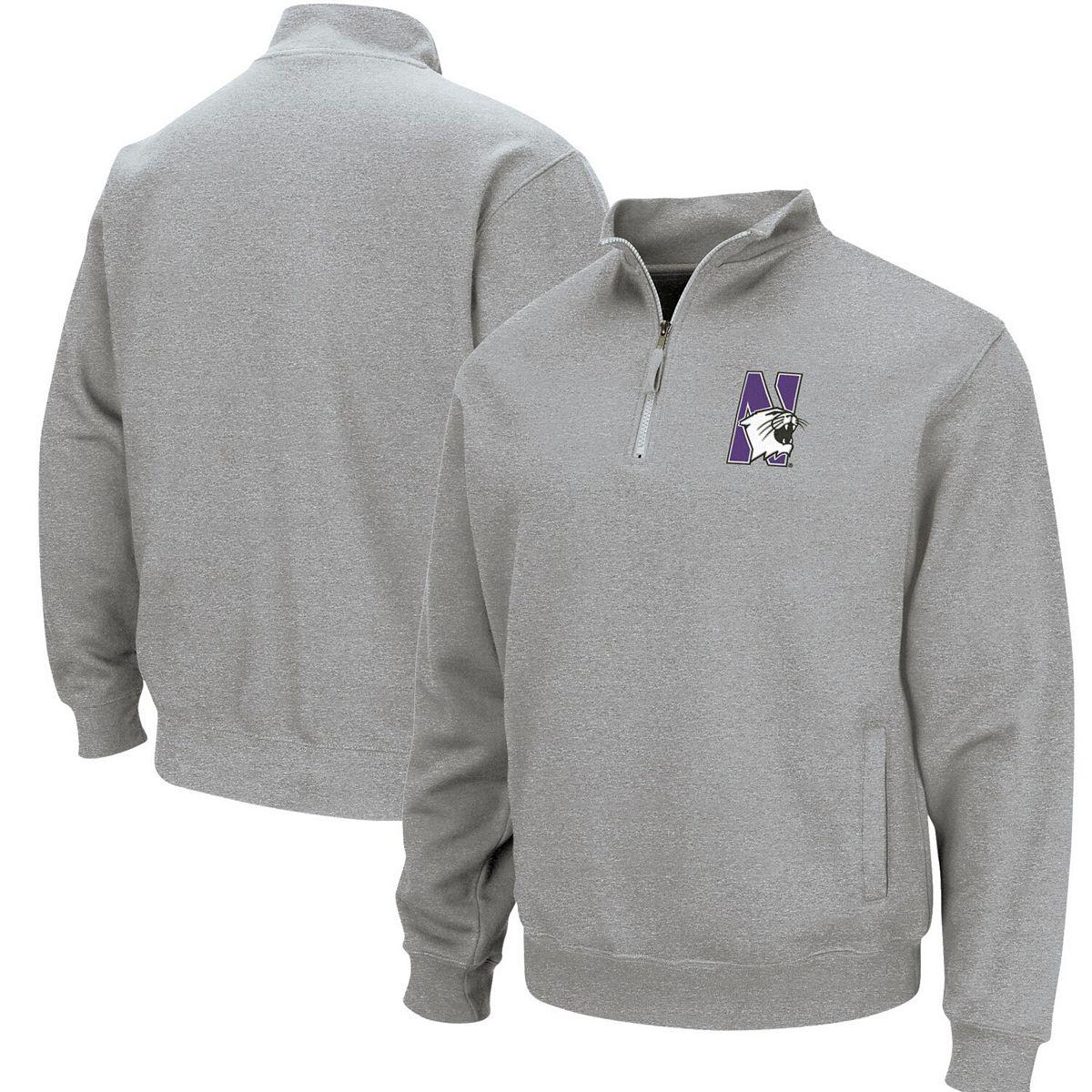 Men's Colosseum Heathered Gray Northwestern Wildcats Team Logo Quarter-Zip Pullover Jacket 2cMUK