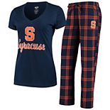 Women's Concepts Sport Navy/Orange Syracuse Orange Troupe V-Neck T-Shirt & Flannel Pants Sleep Set