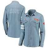Women's WEAR By Erin Andrews Denim Kansas City Chiefs Long Sleeve Button-Up Shirt