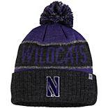 Men's Top of the World Purple/Heather Black Northwestern Wildcats Below Zero Cuffed Pom Knit Hat