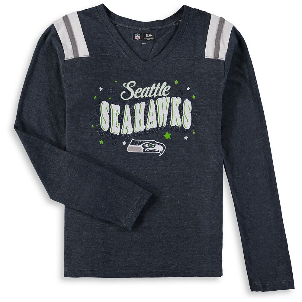 Girls Youth New Era College Navy Seattle Seahawks Starring Role Long Sleeve Tri-Blend V-Neck T-Shirt