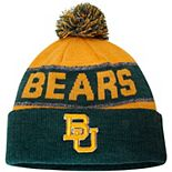 Youth Top of the World Gold Baylor Bears Below Zero Cuffed Knit Hat With Pom