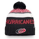 Men's Fanatics Branded Black/Red Carolina Hurricanes Authentic Pro Rinkside Goalie Cuffed Knit Hat with Pom