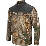 Men's Colosseum Camo Michigan State Spartans Outfitter Quarter-Zip Pullover Jacket