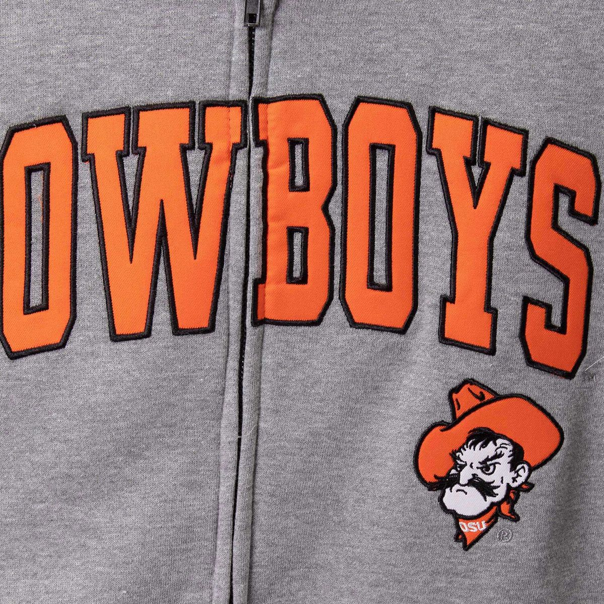 Men's Colosseum Heathered Gray Oklahoma State Cowboys Wordmark Arch & Team Logo Full-Zip Hoodie 9zoJ2