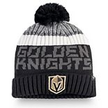 Men's Fanatics Branded Black/Gray Vegas Golden Knights Authentic Pro Rinkside Goalie Cuffed Knit Hat with Pom