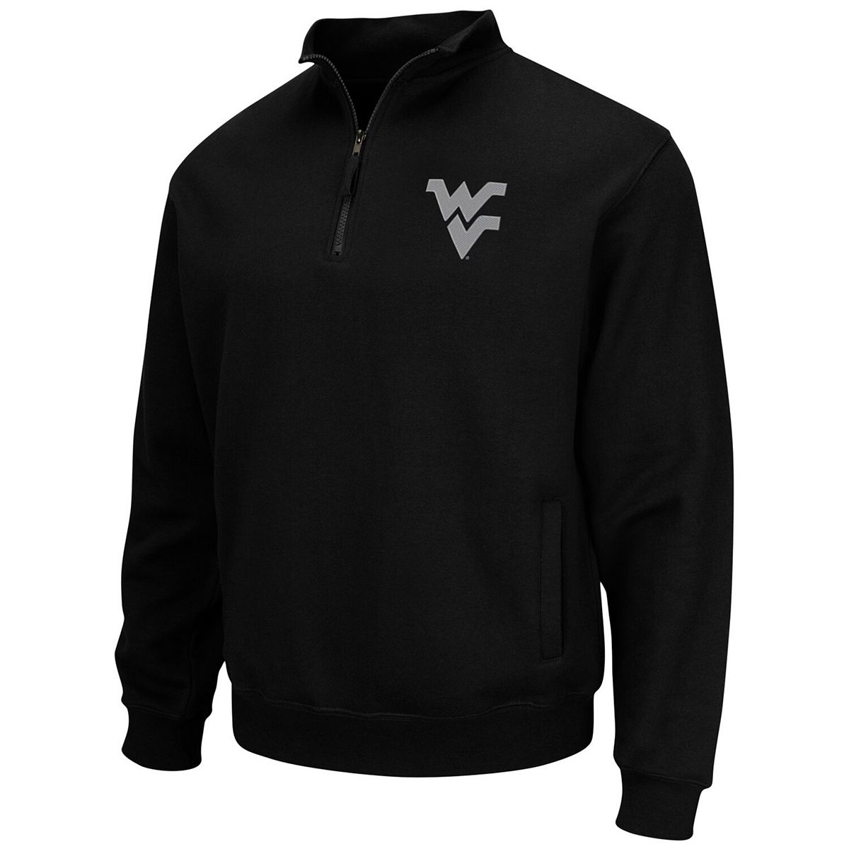 Men's Colosseum Black West Virginia Mountaineers Team Logo Quarter-Zip Pullover Jacket cYmsX