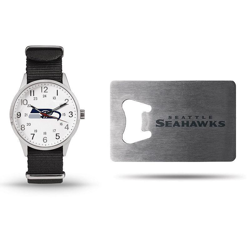 Sparo Seattle Seahawks Watch & Bottle Opener Gift Set, Men's, Black