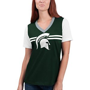 Women's G-III 4Her by Carl Banks Green Michigan State Spartans Pass Rush V-Neck T-Shirt