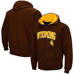 Men's Colosseum Brown Wyoming Cowboys Wordmark Arch & Team Logo Full-Zip Hoodie