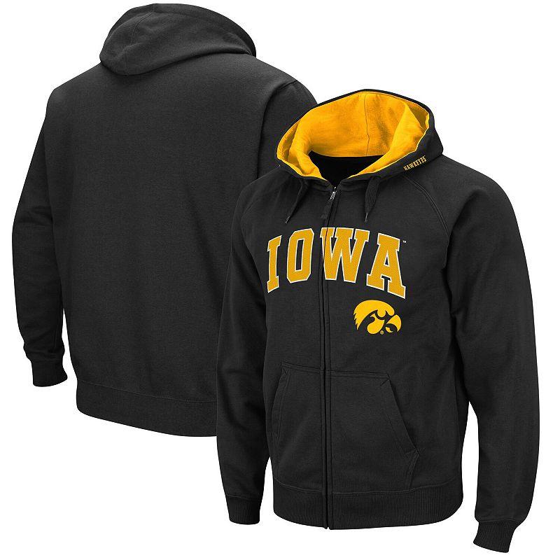 Men's Colosseum Black Iowa Hawkeyes Wordmark Arch & Team Logo Full-Zip Hoodie, Size: Medium