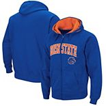 Men's Colosseum Royal Boise State Broncos Wordmark Arch & Team Logo Full-Zip Hoodie