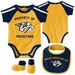 Newborn & Infant Gold/Navy Nashville Predators Hard at Play Bib, Booties & Bodysuit Set
