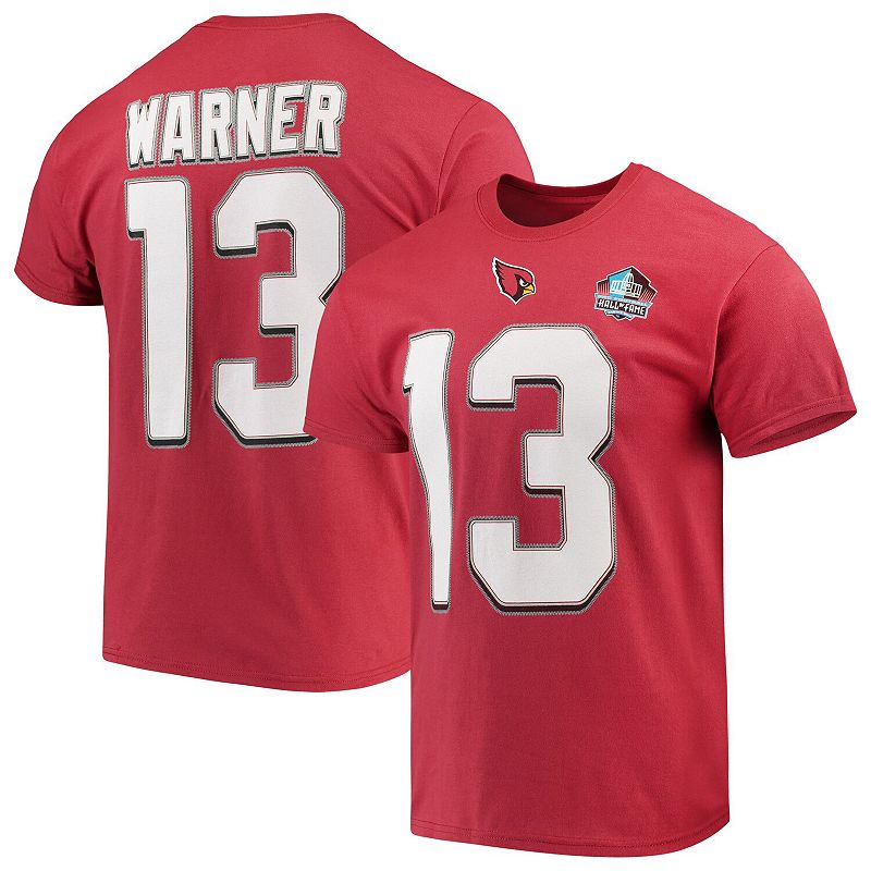 Men's Majestic Kurt Warner Red Arizona Cardinals Hall of Fame Eligible Receiver Name & Number T-Shirt, Size: Large