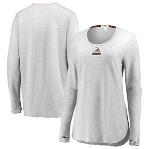 Women's WEAR By Erin Andrews Heather Gray Cleveland Browns Thumbhole Long Sleeve T-Shirt