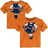 Girls Toddler Orange Denver Broncos Cheerleader Dreams T-Shirt