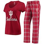 Women's Concepts Sport Crimson Indiana Hoosiers Troupe V-Neck T-Shirt & Flannel Pants Sleep Set