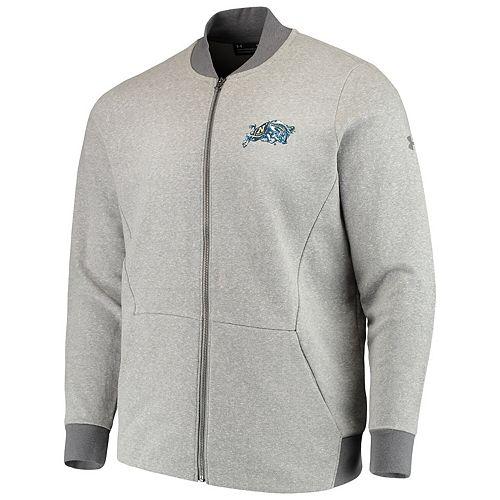Men's Under Armour Heathered Gray Navy Midshipmen Tri-Blend Fleece Full-Zip Performance Bomber Jacket