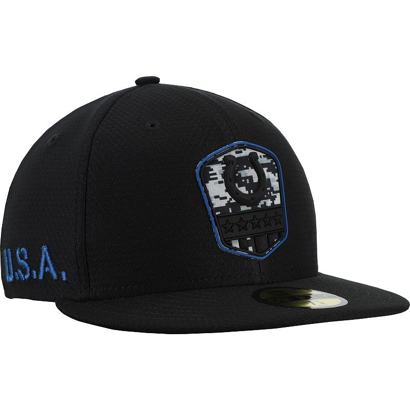 Men's New Era Black Indianapolis Colts 2019 Salute to Service 59FIFTY Fitted Hat, Size: 7 1/4