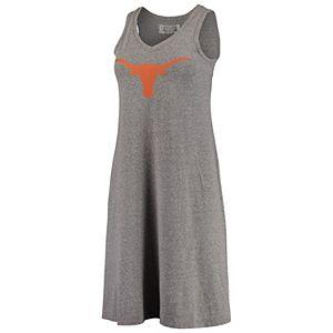 Women's Lauren James Heathered Gray Texas Longhorns Logo Swing V-Neck Dress