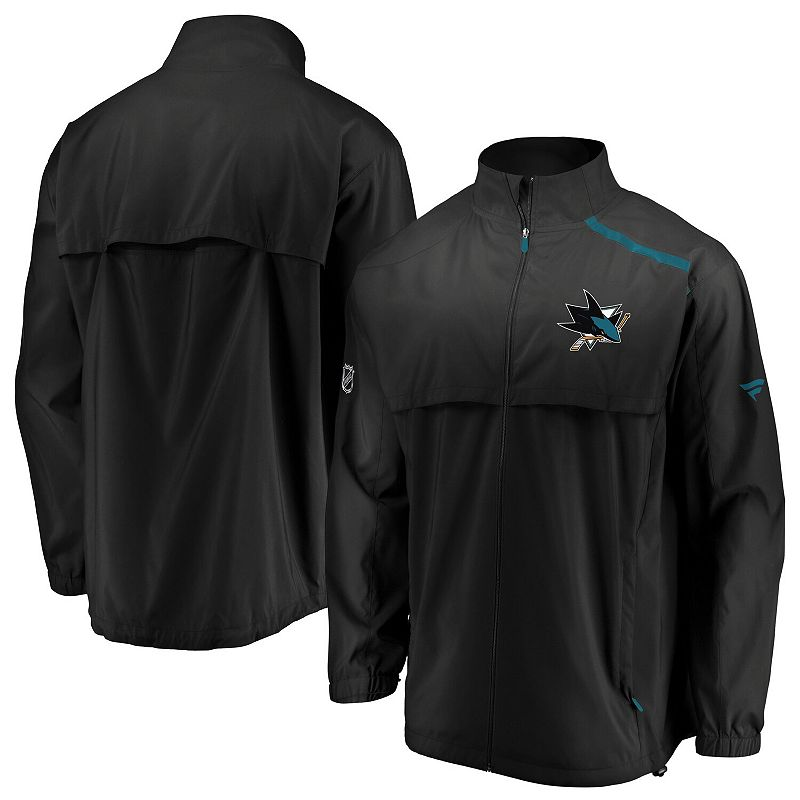 Men's Fanatics Branded Black/Teal San Jose Sharks Authentic Pro Rinkside Full-Zip Jacket, Size: Large