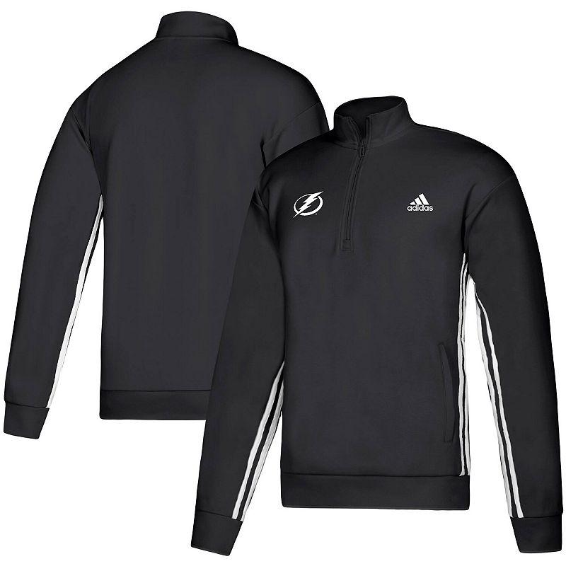 Men's adidas Black Tampa Bay Lightning Must-Have Three-Stripe Track Quarter-Zip Pullover Sweatshirt, Size: 2XL