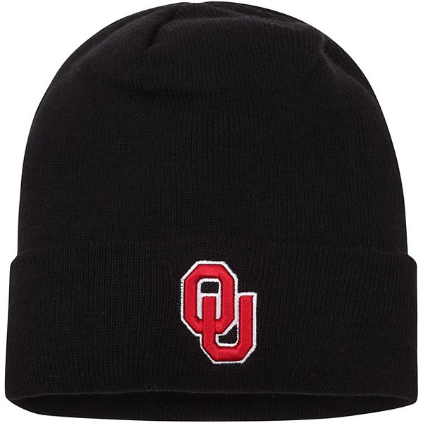 Men's Top of the World Black Oklahoma Sooners Primary Logo Simple Cuffed Knit Hat