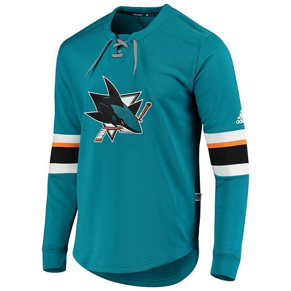 Men's adidas Teal San Jose Sharks Platinum Long Sleeve Jersey T-Shirt
