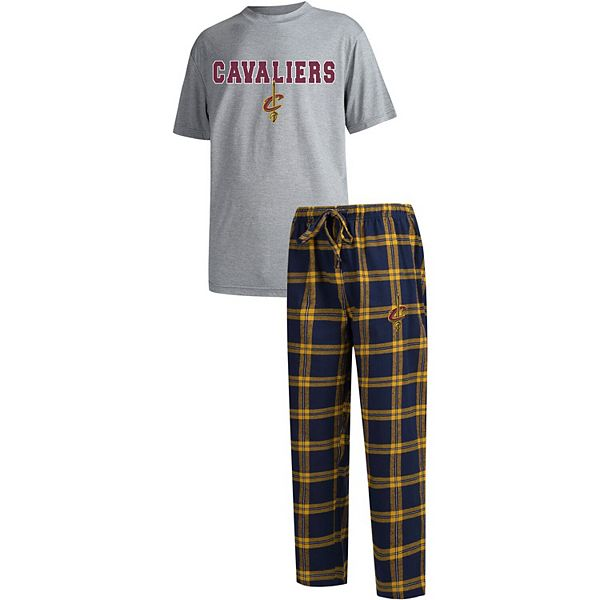 Men's Concepts Sport Gray/Navy Cleveland Cavaliers Troupe T-Shirt & Pants Sleep Set