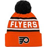 Youth Orange Philadelphia Flyers Wordmark Cuffed Pom Knit Hat