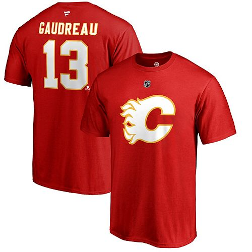 Men S Fanatics Branded Johnny Gaudreau Red Calgary Flames Authentic Stack Alternate Short Sleeve T Shirt