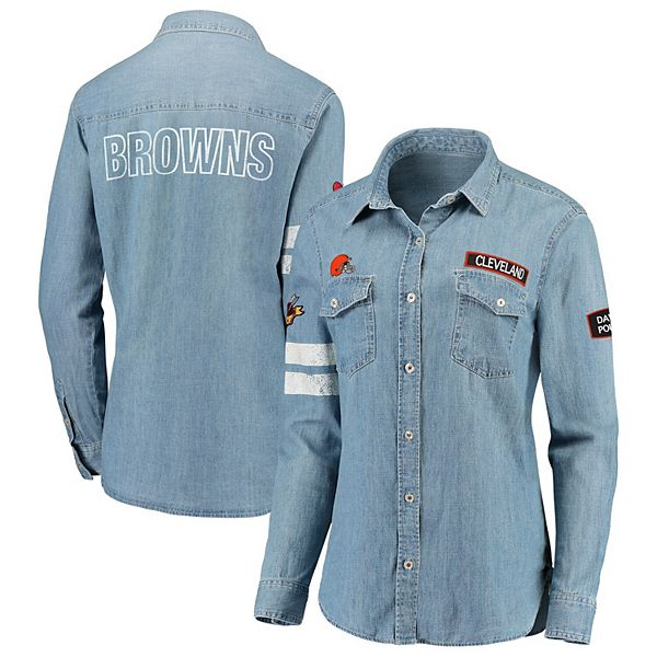 Women's WEAR By Erin Andrews Denim Cleveland Browns Long Sleeve Button-Up Shirt